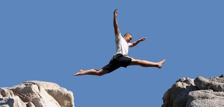 confident leap